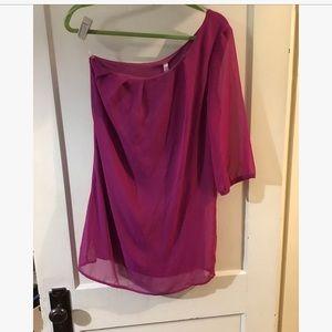 Ladies one shoulder 3/4 sleeve dress